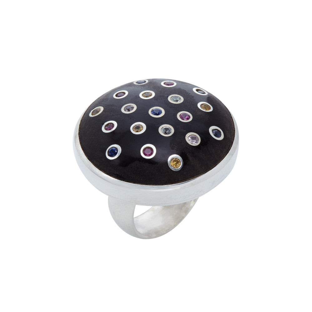 Ebony and Multicolored Stone Ring