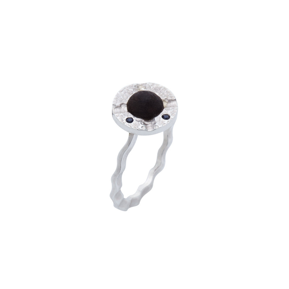 Stackable Ebony and Sapphire Ring with Hammered Silver