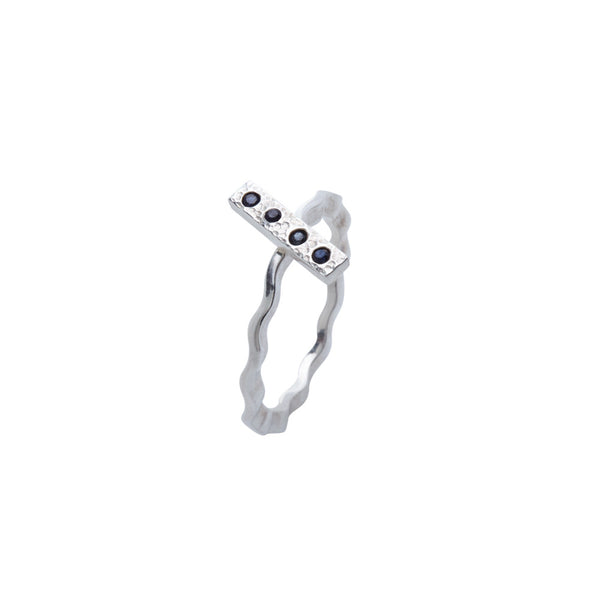 Stackable Sapphire and Hammered Silver Ring