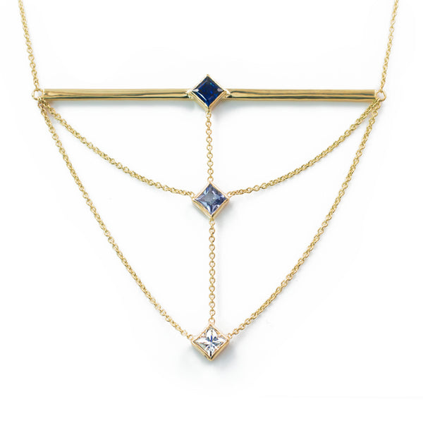 The Corner Stack Necklace - Ombre Sapphires