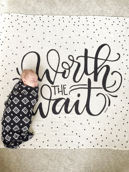 Muslin cotton swaddle - Worth the wait - howjoyfulshop