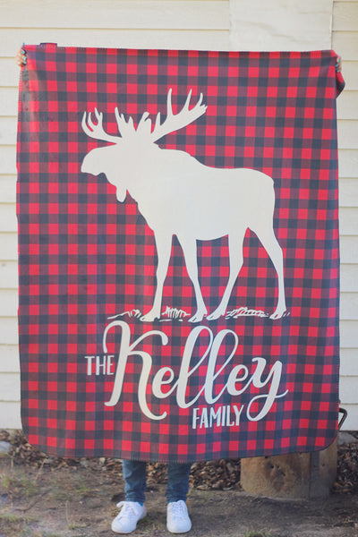 Fleece Blanket - Plaid - Moose with custom name - howjoyfulshop