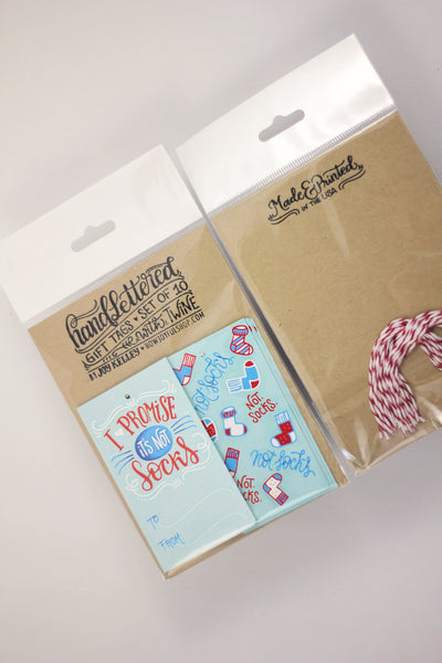 gift tag - Not socks - Set of 10 with twine - howjoyfulshop