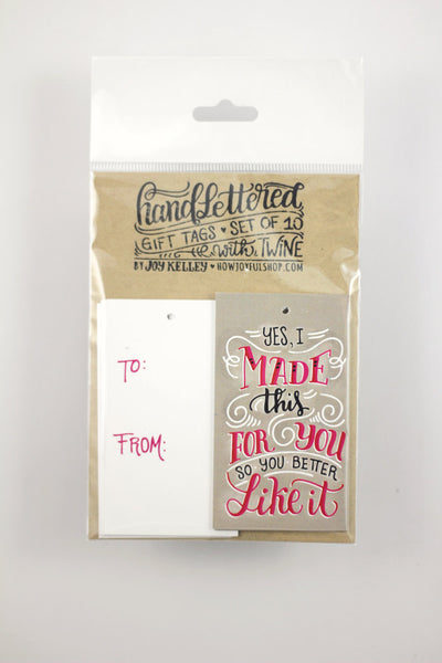 gift tag - I made this - Set of 10 with twine - howjoyfulshop