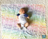 Rainbow Baby- Personalized Swaddle - Rainbow color - Birth announcement - howjoyfulshop