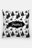 Pillow - Custom name - Pine forest - Black and white - howjoyfulshop