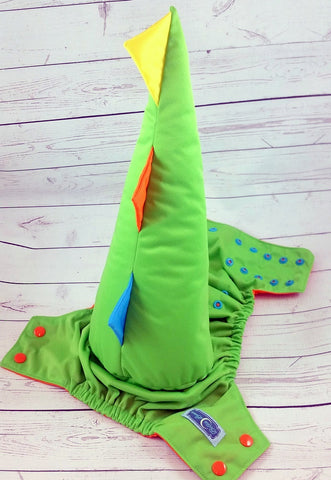 Spring Green Dino Tail<br>One Size Pocket Diaper<br>Instock and Ready to Ship
