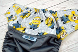 One in a Minion ( gray outer, marigold snaps ) <br>Wrap Around, One Size Pocket Diaper<br>Instock and Ready to Ship