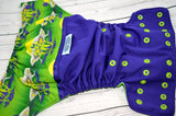 Out of This World (imperial outer,  two-toned snaps - imperial caps / apple pieces)<br>Wrap Around, One Size Pocket Diaper<br>Instock and Ready to Ship