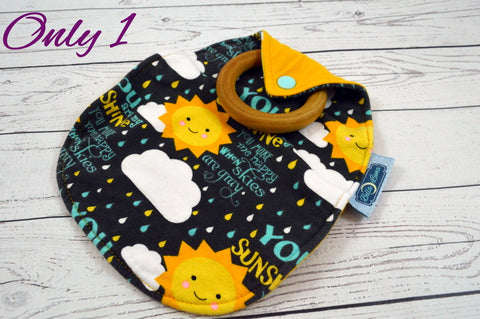 Happy Little Sunshine<br>Lovie with Maple Teething Ring<br>Instock and Ready to Ship