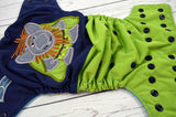 Rock Troll<br>Embroidered Half & Half, One Size Pocket Diaper<br>Instock and Ready to Ship