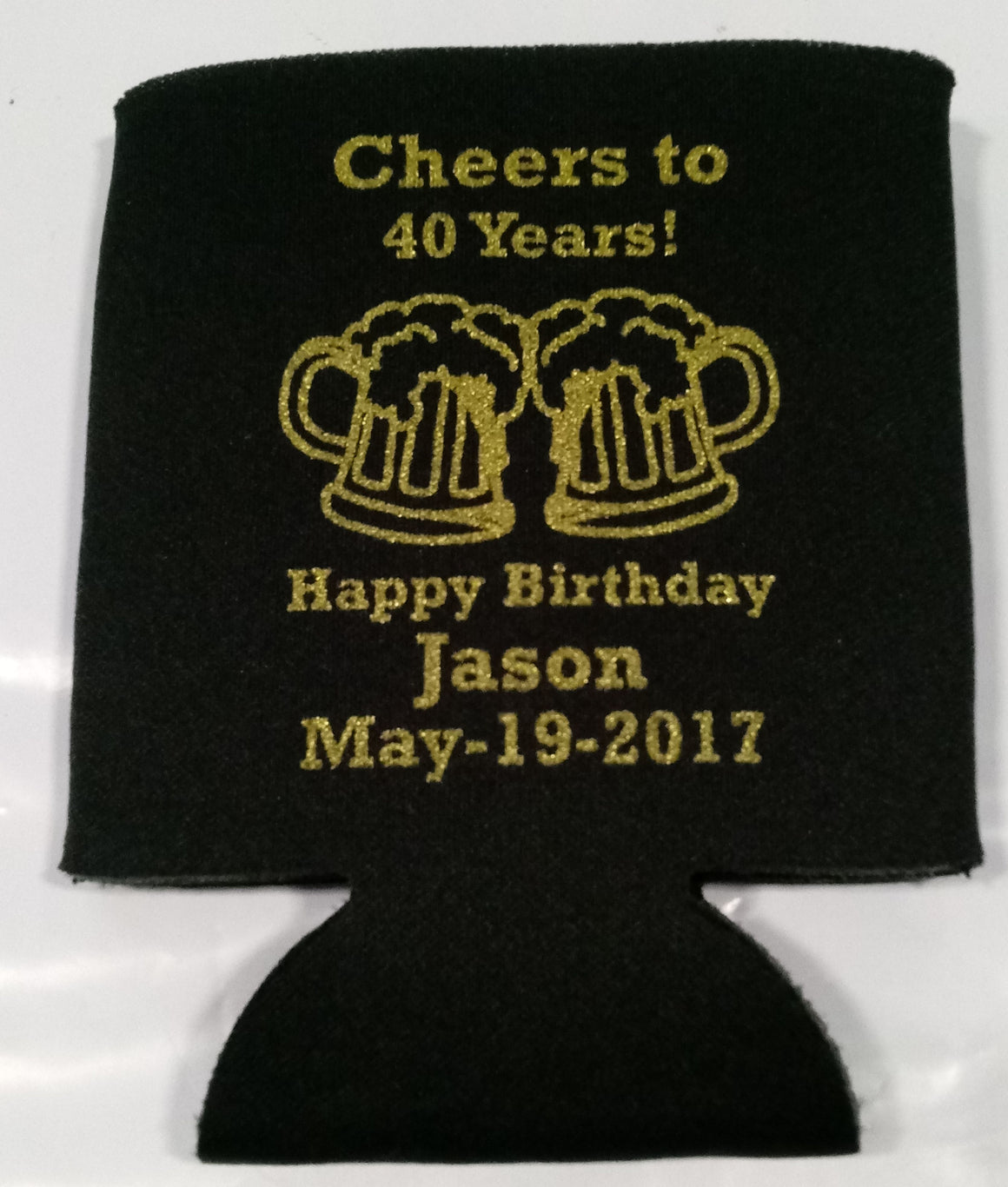 cheers and beers 40th Birthday koozies favors can coolers