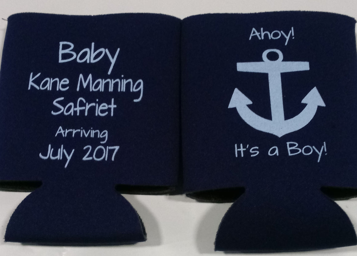 Personalized Ahoy it's a boy Baby Shower koozies