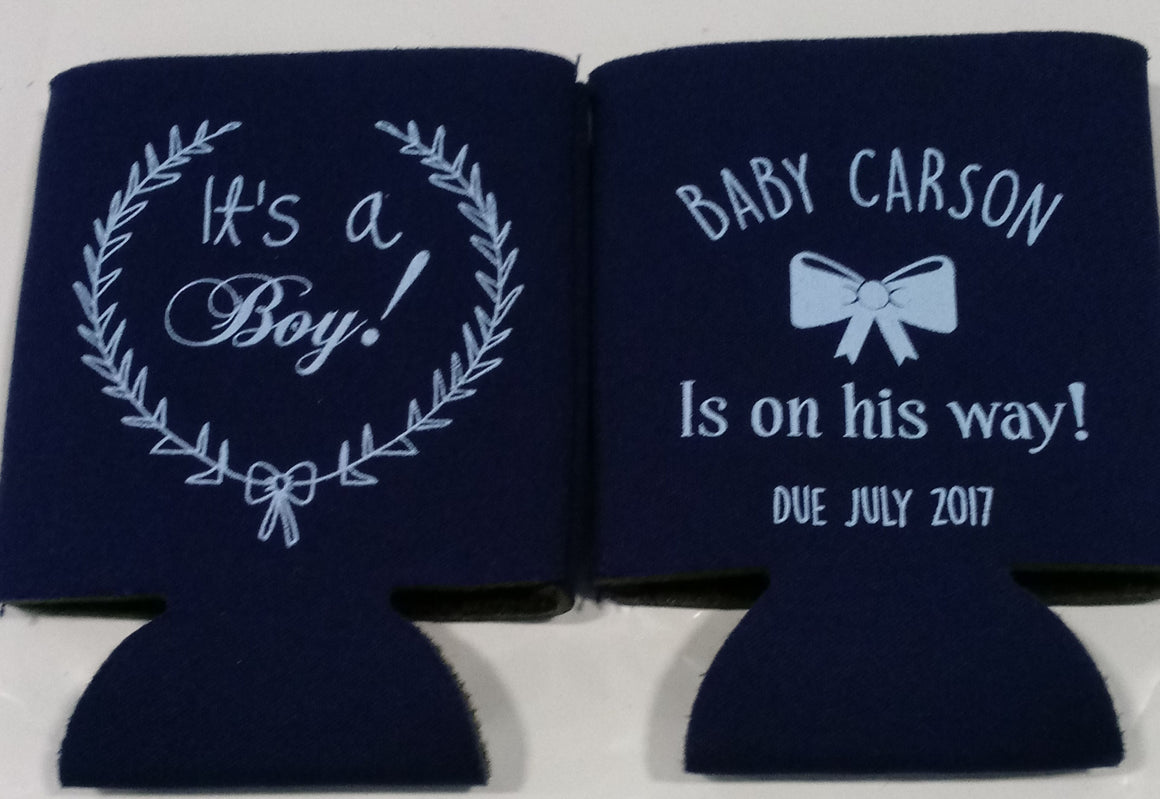 Baby Shower koozies Boy wreath favors Can Coolers customizable