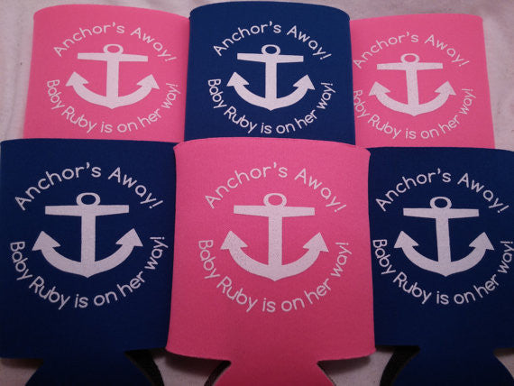 Baby Shower Anchor koozies fast favors