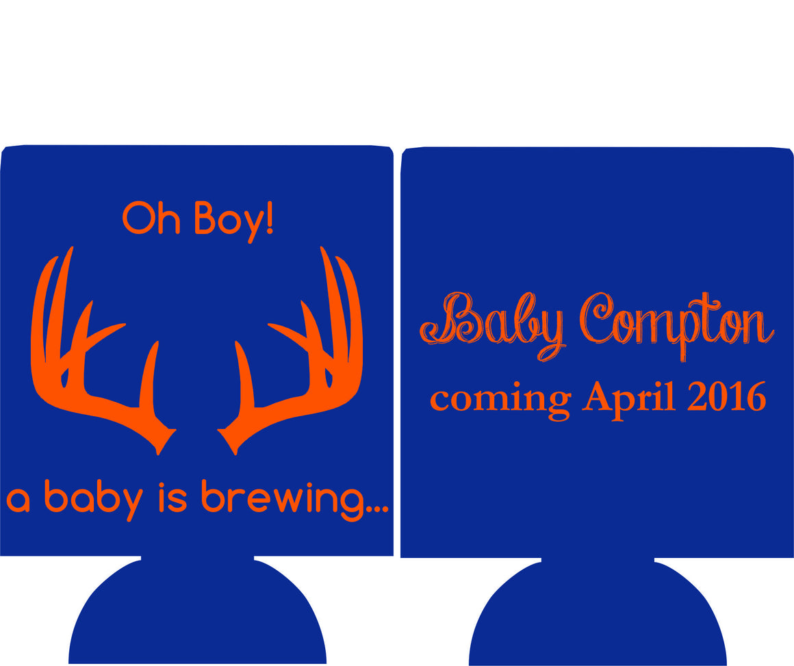 oh boy a Baby is brewing Koozie Can Coolers