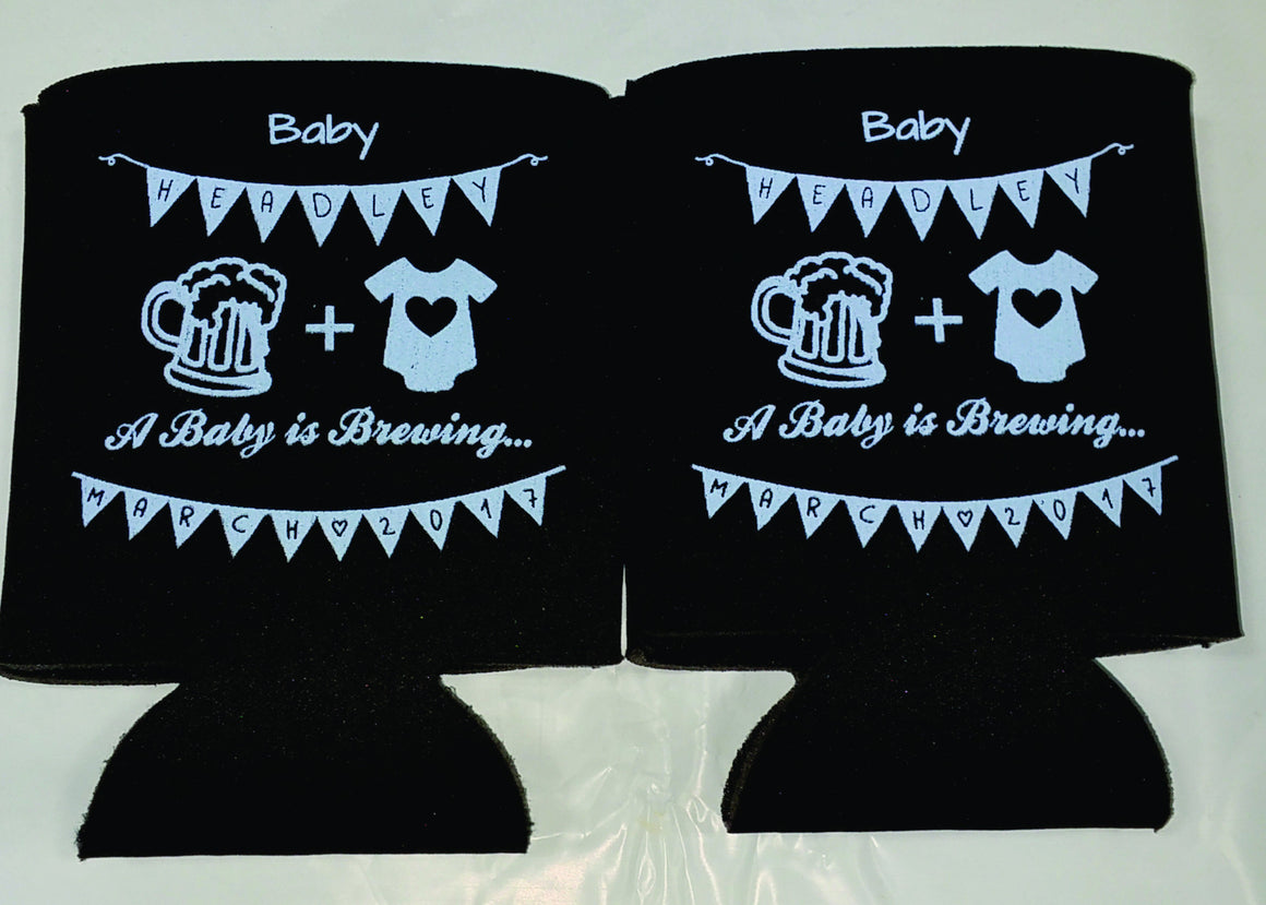 A baby is brewing koozies Baby Shower