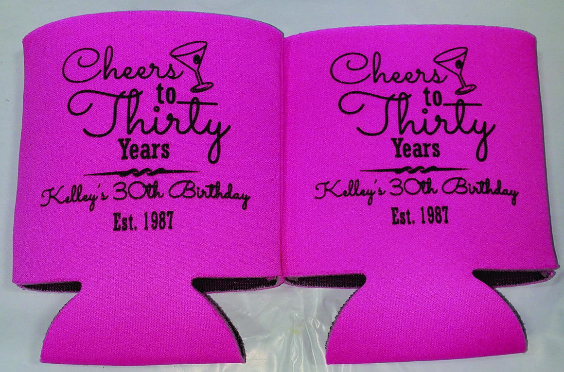 30th Birthday koozies party favors can coolers 1121959497