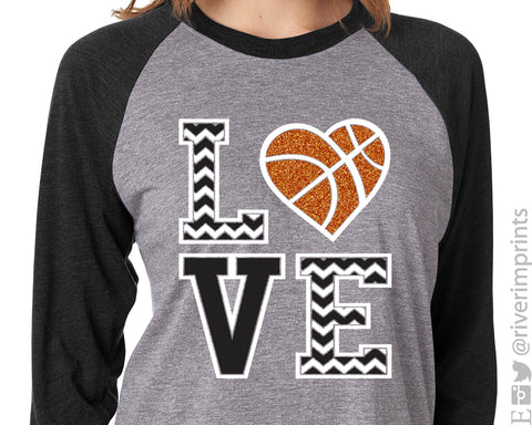LOVE BASKETBALL Chevron Glittery Triblend Raglan by River Imprints
