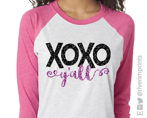 XOXO Y'all Glittery Valentine's 3/4 sleeve shirt