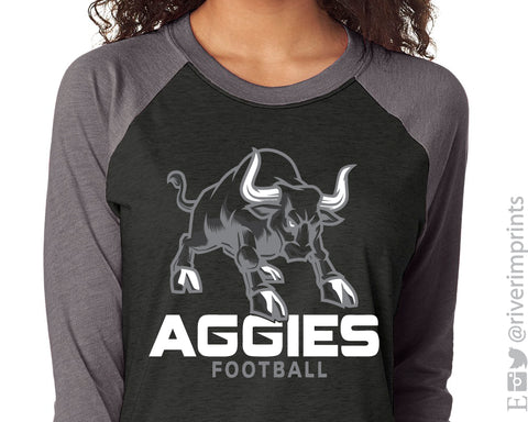 NHC AGGIES Mascot Triblend Raglan by River Imprints