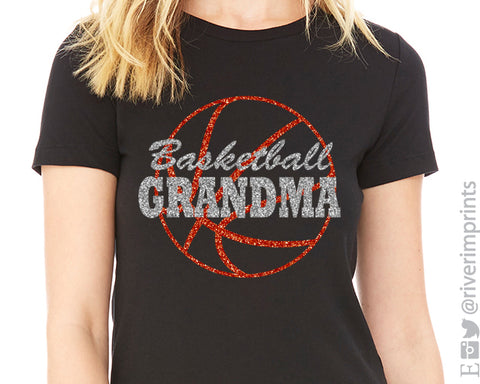 BASKETBALL GRANDMA Glittery Cotton Tee River Imprints