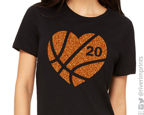 BASKETBALL HEART Personalized Glittery Cotton Tee River Imprints