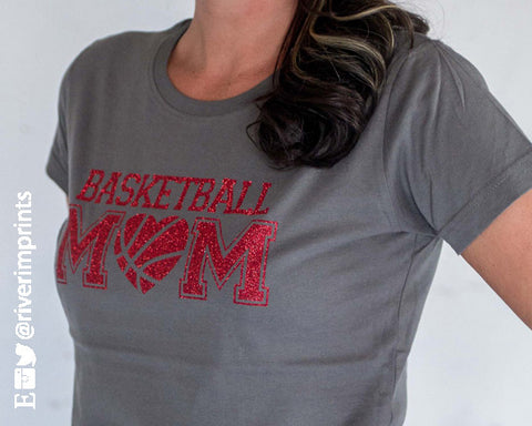BASKETBALL MOM Glittery Cotton Tee by River Imprints
