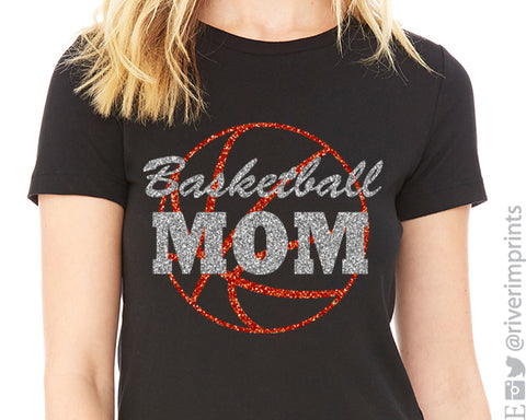 BASKETBALL MOM Glittery Cotton Tee