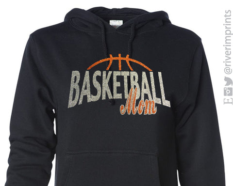 BASKETBALL MOM Glittery Hooded Sweatshirt or Tee