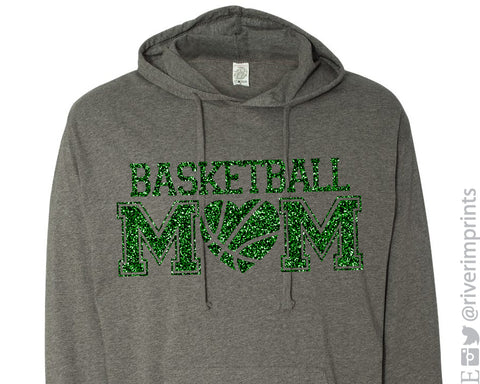 BASKETBALL MOM with HEART Glittery Midweight Hooded Sweatshirt or Tee by River Imprints