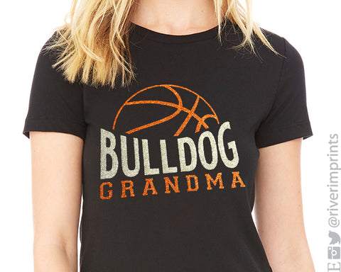 BASKETBALL GRANDMA Personalized Glittery Cotton Tee River Imprints