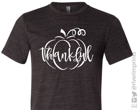THANKFUL PUMPKIN Graphic Triblend Tee by River Imprints