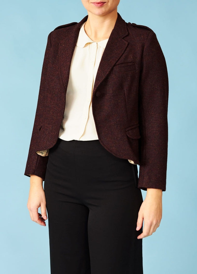 Palava: Kort ulden blazer i Yorkshire Tweed - bordeaux