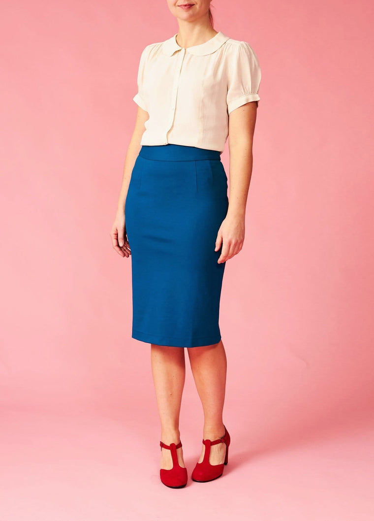 Very Cherry: Fairtrade højtaljet pencilskirt - petroleumsblå