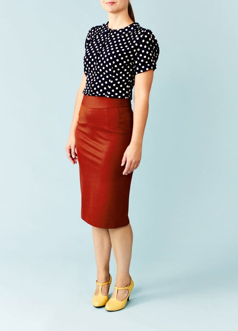 Very Cherry: Fairtrade højtaljet pencilskirt - varm rustrød
