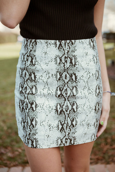 Keeping Up Snakeskin Skirt