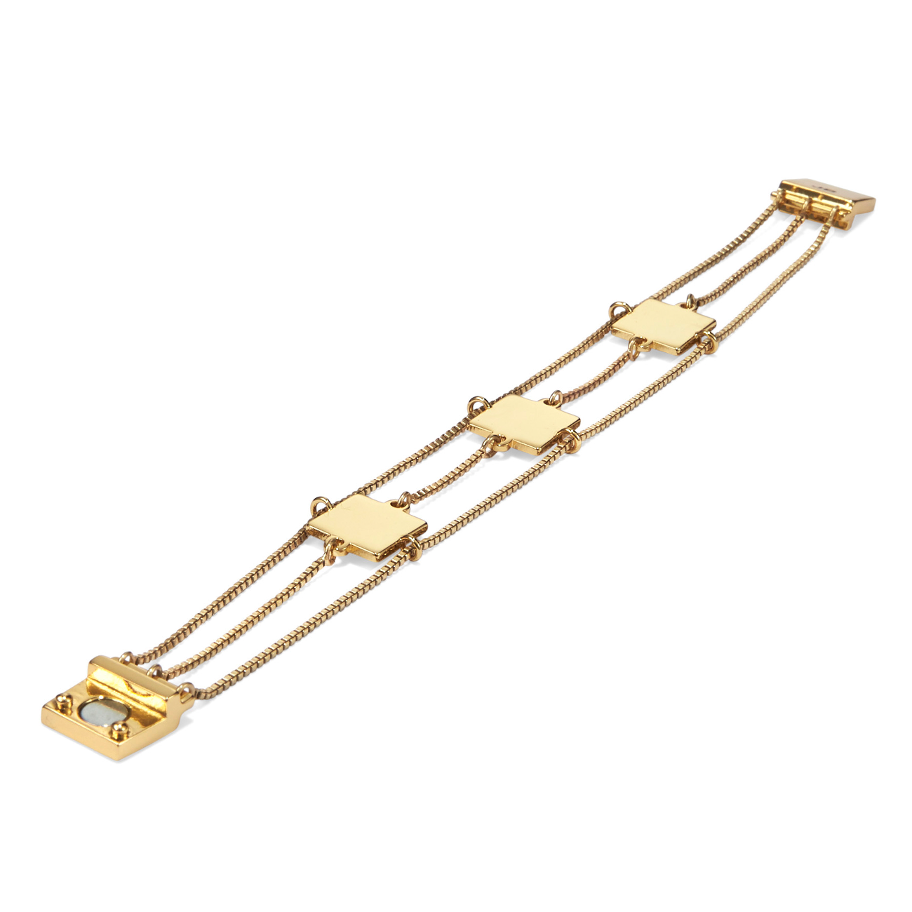 Gold delicate chain and square Jasmine Bracelet by Jenny Bird