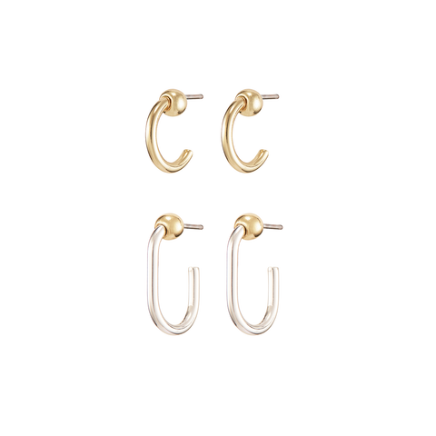 Gold and Silver set of mini Icon Hoops Mini Set Earrings by JENNY BIRD