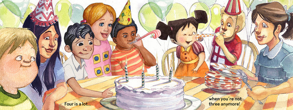 Four is a little, Four is a LOT, a birthday book for four-year-olds, 4th birthday party