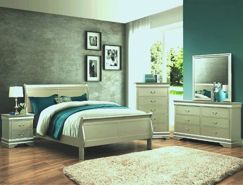 Louis Silver Champagne 5 Piece Bedroom Set