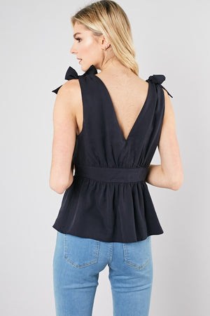 tie shoulder button top