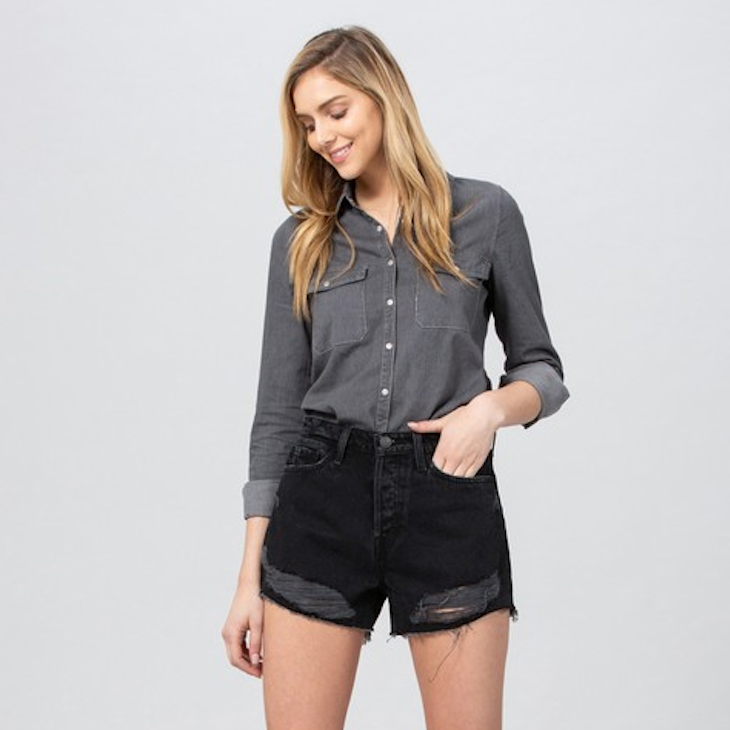 Dark Denim High Rise Shorts - Shop trendy womenswear styles on www.downerss.com