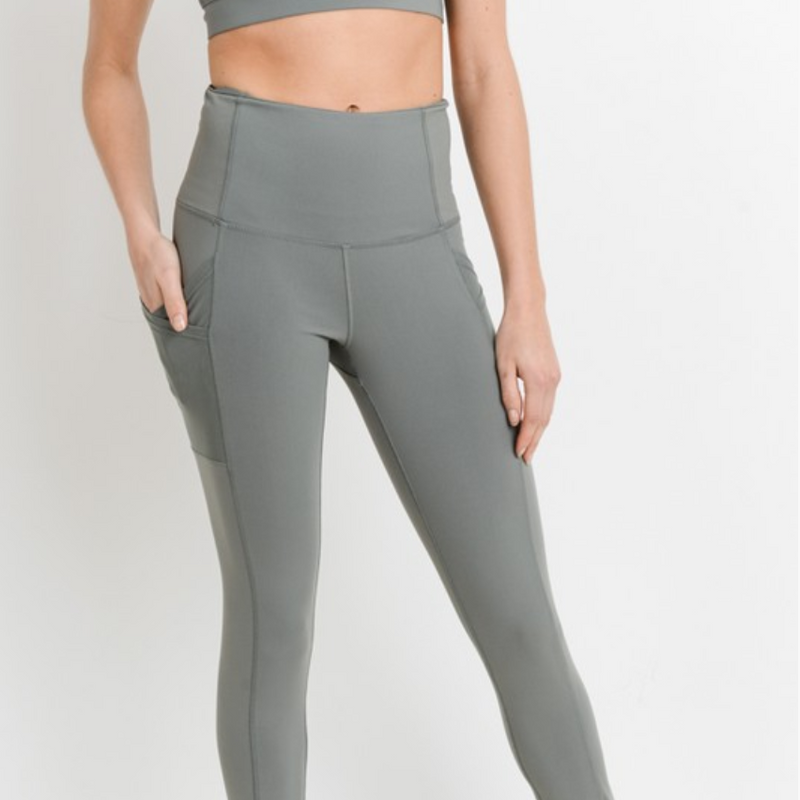 high-waisted overlay side-pocket leggings