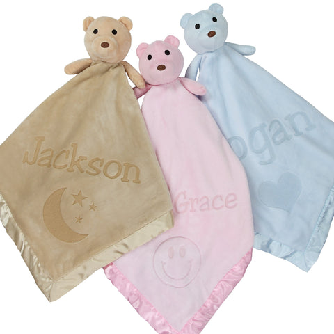 Large Ultra Plush Personalized Teddy Bear Baby Blanket With Moon, Smiley Face, or Heart Design