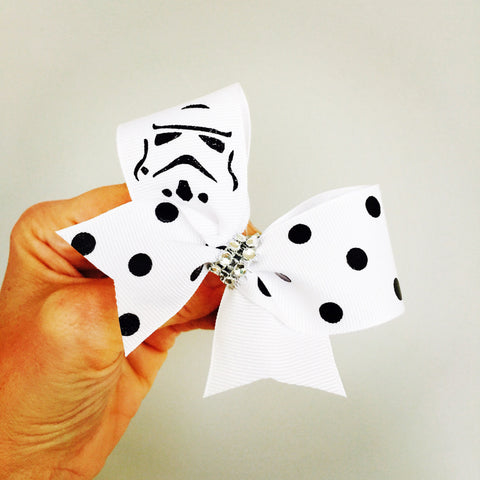 Baby STORMTROOPER mini Hair Bow Cheer Bow