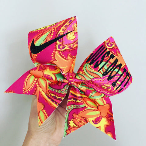 Big Bright BoHo Just Do It Spandex Cheer Bow Pink Orange