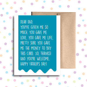 GC0213 Dad Money For This Card