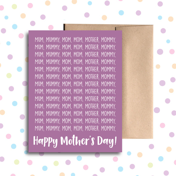 GC0214 Mum, Mommy, Mom Card