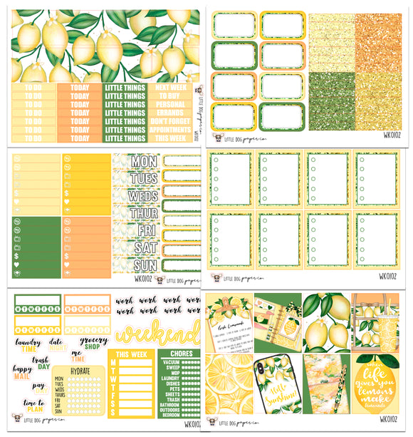 WK0102 // Lemon Squeeze Collection // Planner Stickers